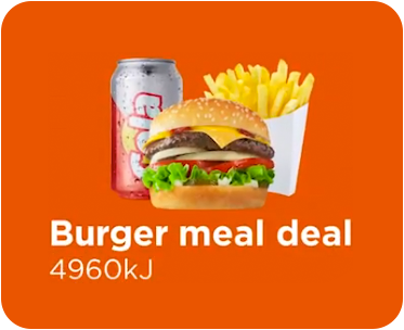 An illustration of a burger meal deal showing a burger, can of soft drink and fries - 4960kj in total
