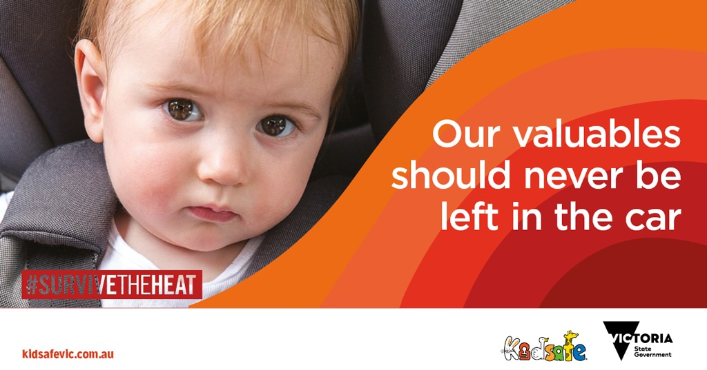 Small child in a car seat with caption - our valuables should never be left in the car