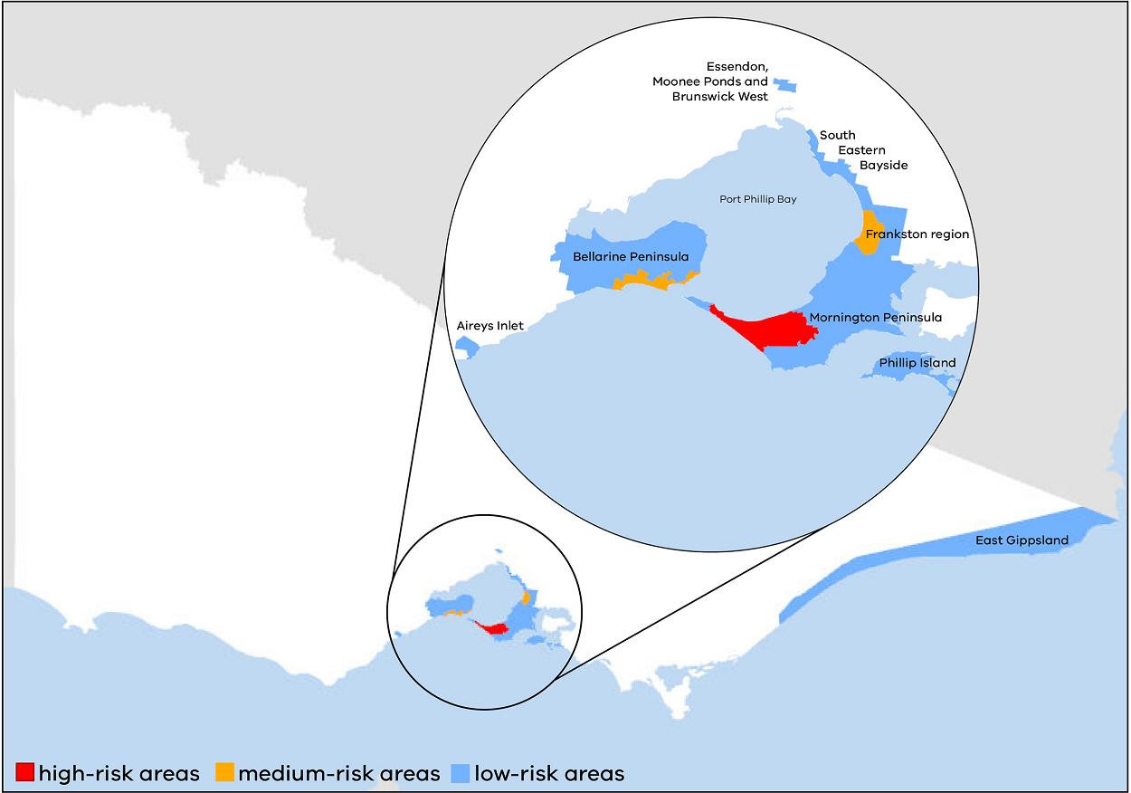 Buruli ulcer rural map Victoria - April 2021