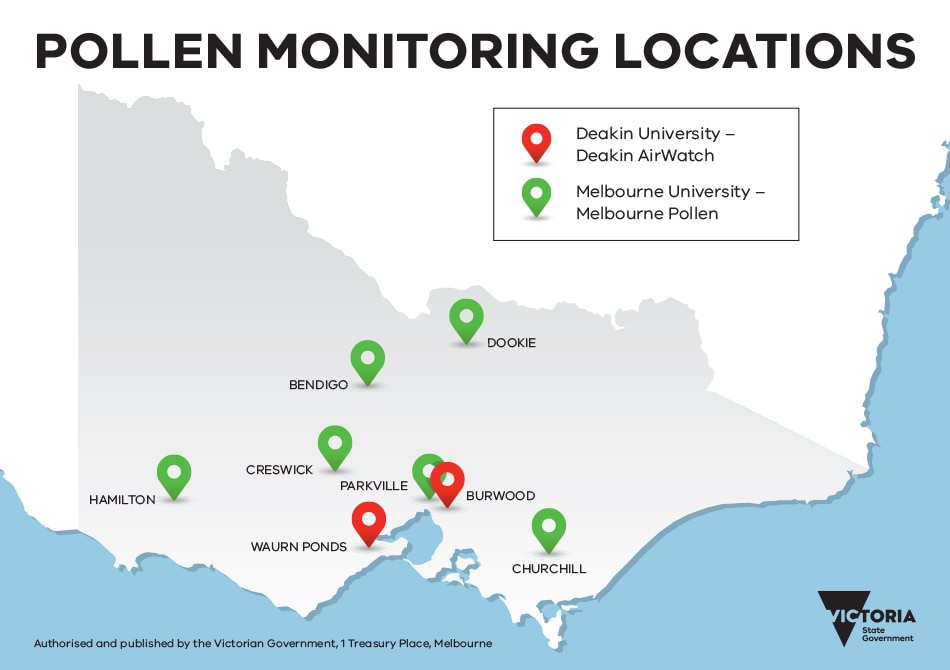 Map of Victorian pollen monitoring locations.