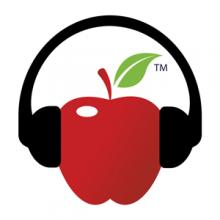 Apple illustration with headphones on the apple as if it was listening to something
